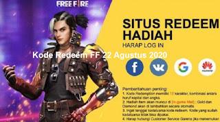 Kode Redeem FF 22 Agustus 2020