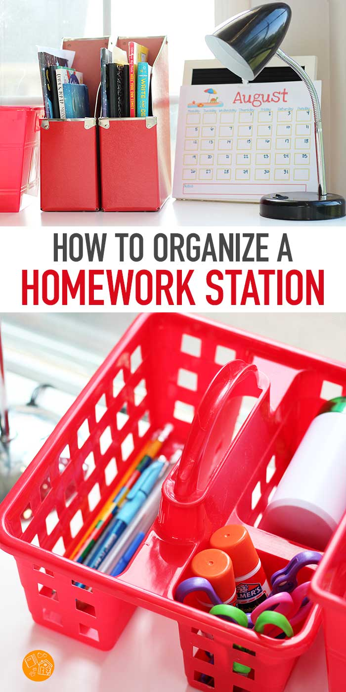 Make a DIY Homework Station with these tips and inspiration! Find ideas for a tabletop homework station, portable homework stations, homework caddies and more. Organize your school supplies and craft supplies with this adorable set up. Perfect for back to school, homeschool, or crafts. Love these ideas! #backtoschool #homework #organized #schoolsupplies