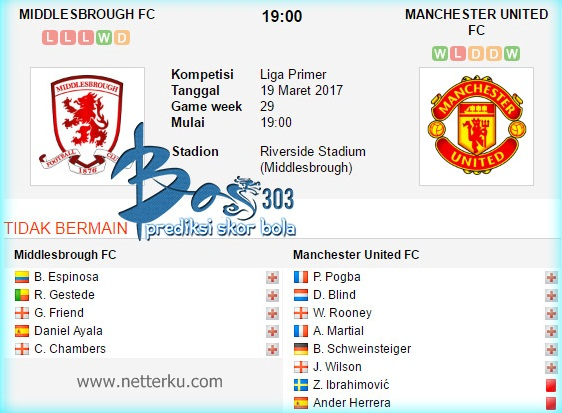 Middlesbrough vs Manchester United 19 Maret 2017 - Netterku.com