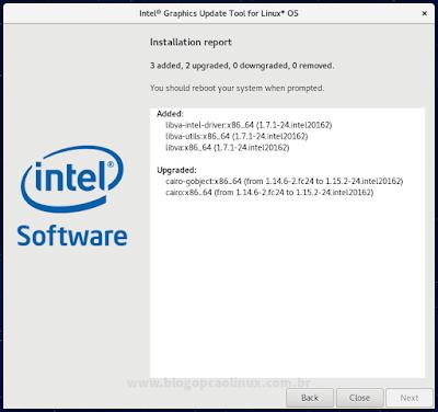 Alterações realizadas pelo Intel Graphics Update Tool