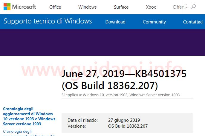Pagina del sito web Microsoft supporto tecnico aggiornamento KB4501375