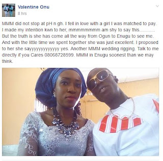 This Man is set to marry the lady he met through MMM.. He was matched to pay her, but then they fell in love…