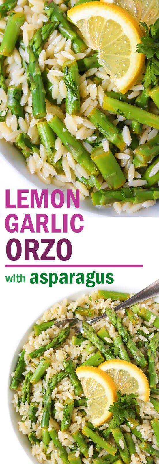 Lemon Garlic Orzo with Asparagus