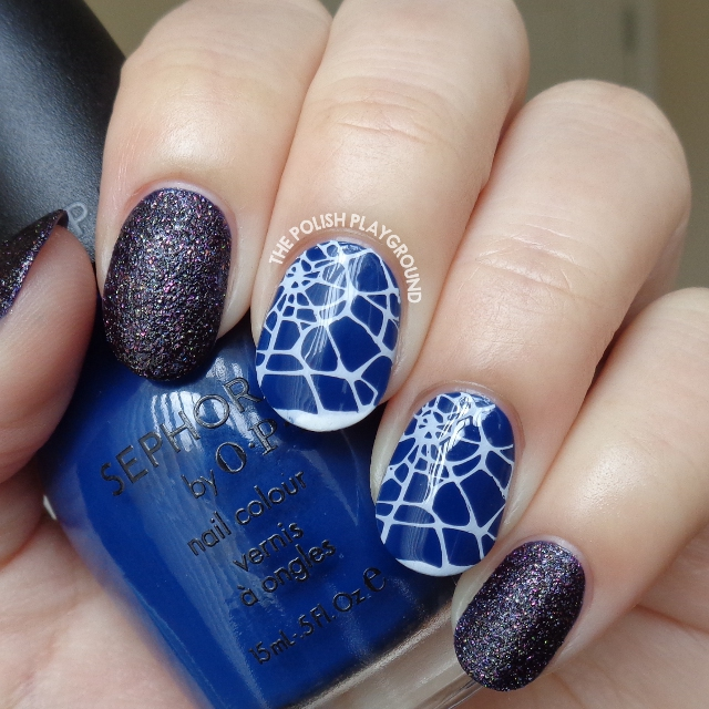 Blacken Texture with Halloween Cobweb Stamping Nail Art