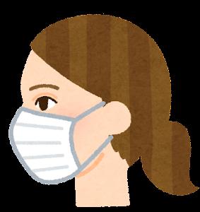 マスクを付けた人の横顔のイラスト(白人女性)