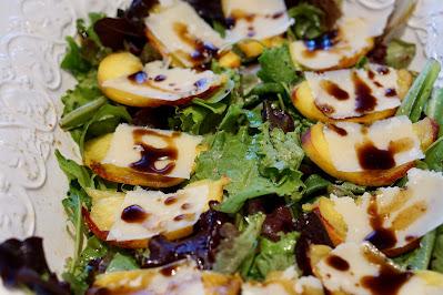 peach, balsamic vinegar and parmigiano salad