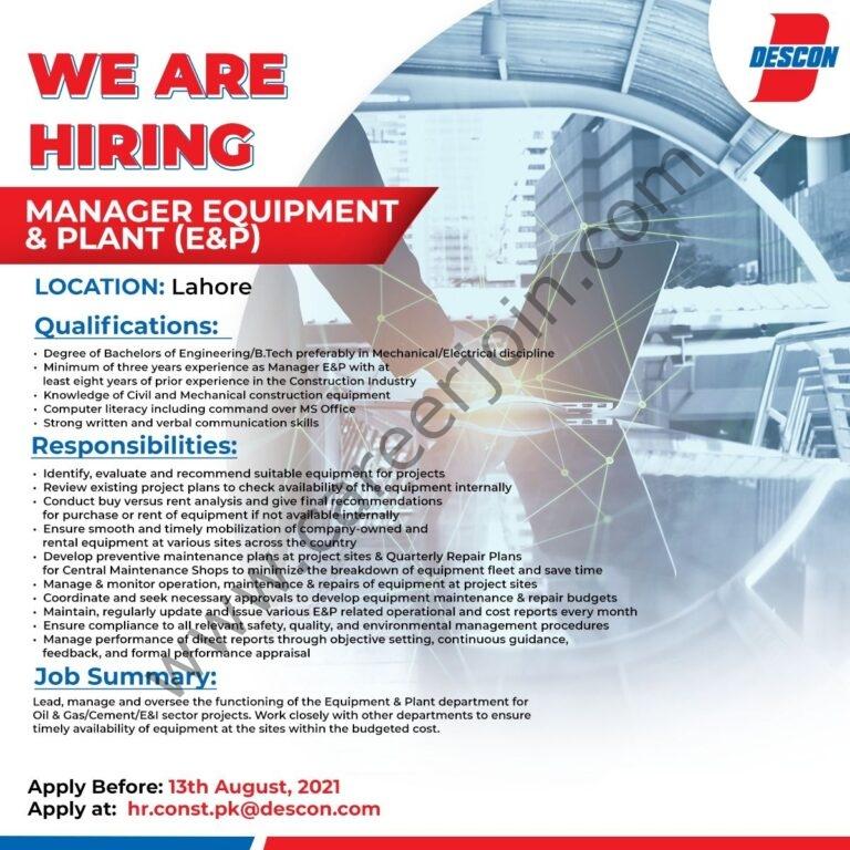 Descon Pakistan Jobs Manager Equipment & Plant E&P