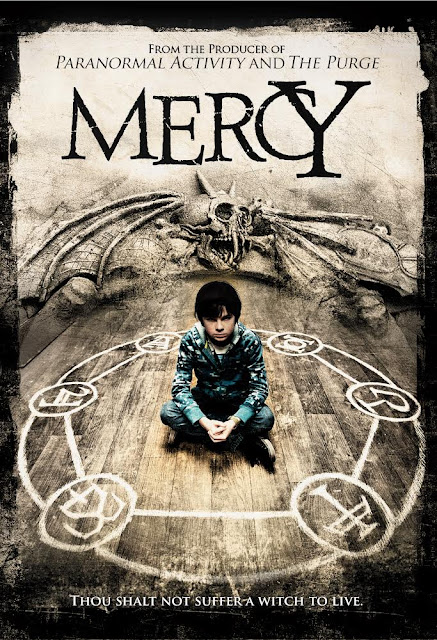 Movie poster for Blumhouse Productions's 2014 horror film Mercy, starring Chandler Riggs, Frances O'Connor, Shirley Knight, Mark Duplass, Dylan McDermott, Amanda Walsh, Hana Hayes, and Joel Courtney