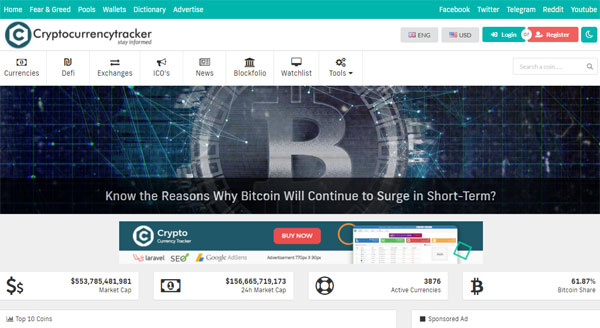 Crypto Currency Tracker - Realtime Prices, Charts, News, ICO's and more