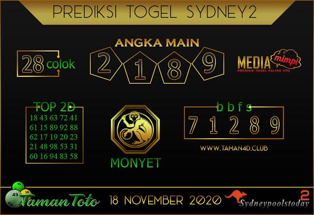 Prediksi Togel SYDNEY 2 TAMAN TOTO 18 NOVEMBER 2020