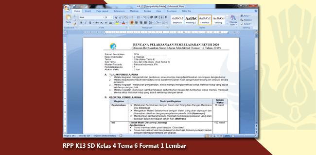 RPP K13 SD Kelas 4 Tema 6 Format 1 Lembar