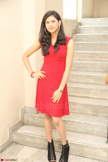 Mounika Telugu Actress in Red Sleeveless Dress Black Boots Spicy Pics 071.JPG