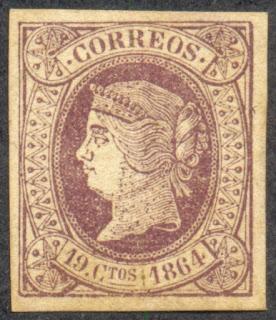 Spain 1864, 19 Cuartos Stamp, Isabella II