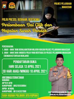 Sambut Bulan Ramadhan 1442 H, Polres Pelabuhan Makassar gelar Lomba Da'i Cilik dan Hafiz Qur'an dengan Prokes