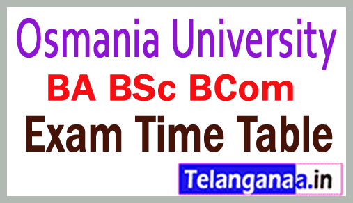 OU Degree Time Table 2018 BA BSc BCom Exam Time Table