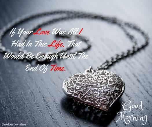 romantic good morning with heart pendant