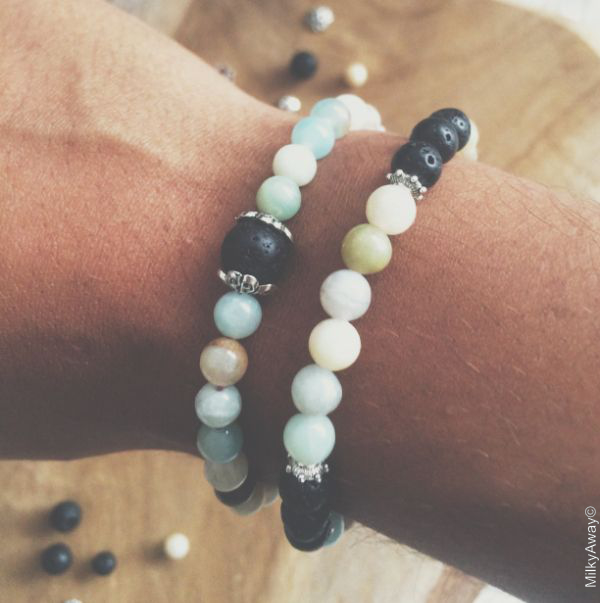 Bracelets pierres de lave et amazonite My Roller Stone