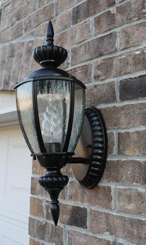 Spray painting outdoor light fixtures