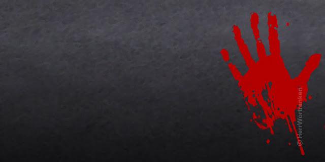 """Grau mellierter Hintergrund. Querfläche. Am rechten Bildrand ein Abdruck einer in rote Farbe getauchte Handfläche, die auf dieser """"Wand"""" einen Abdruck hinterlassen hat ..."""