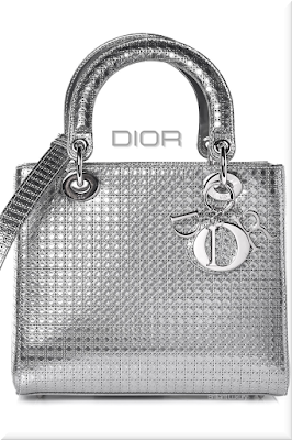 ♦Dior Lady Dior silver metallic top handle calfskin bag with micro-canage motif and classic Dior charms #dior #bags #ladydior #brilliantluxury