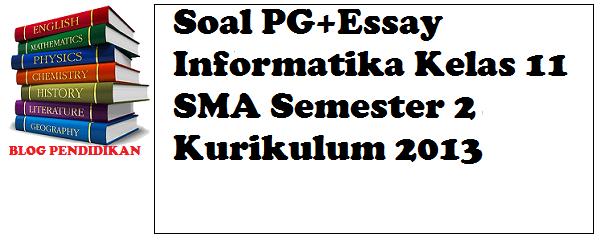 Soal PG+Essay Informatika Kelas 11 SMA Semester 2 Kurikulum 2013
