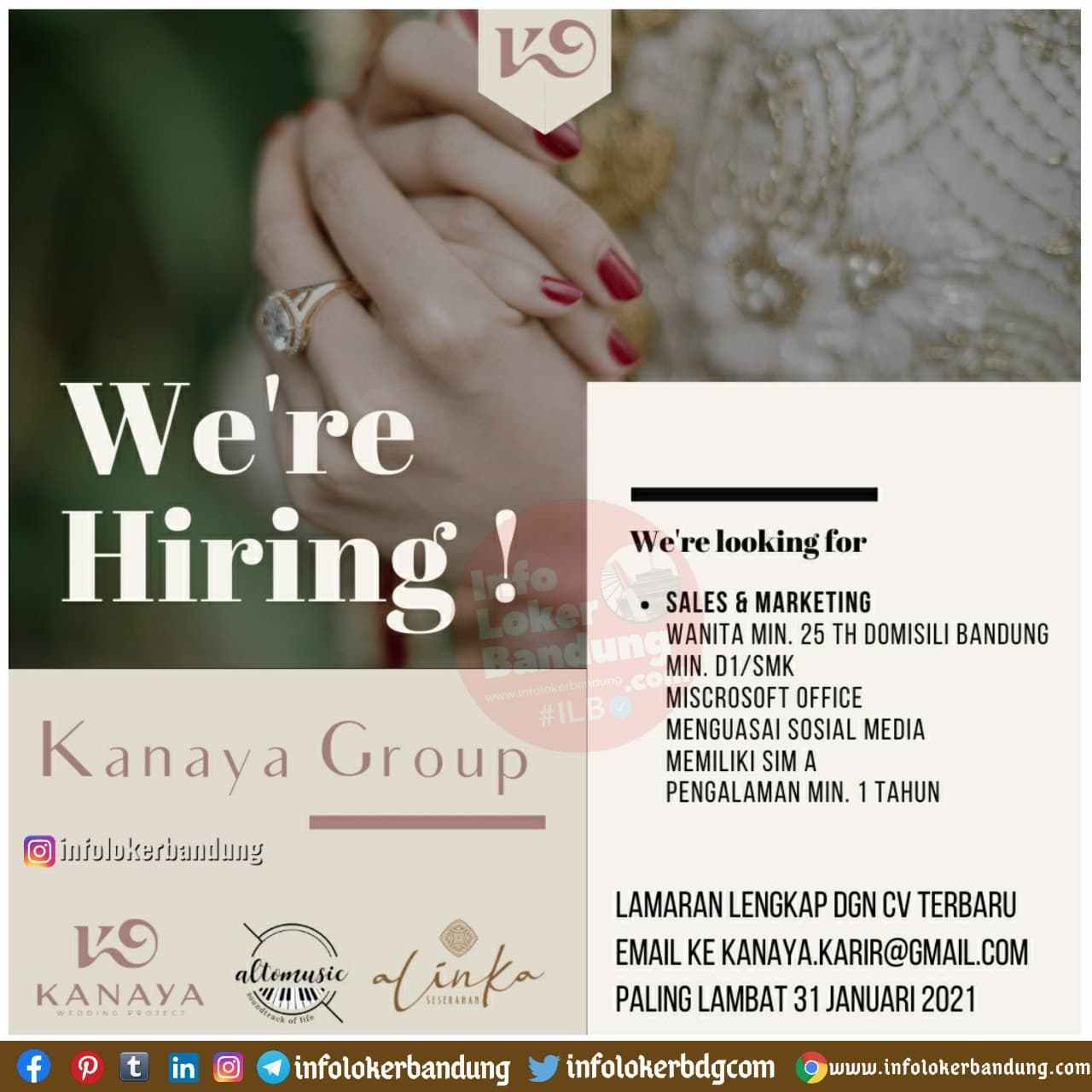 Lowongan Kerja Sales & Marketing Kanaya Group Bandung Januari 2021
