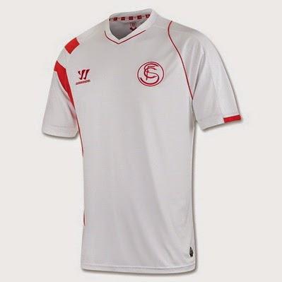 742272f8cc2cd La segunda camiseta del sevilla 2014-2015 es representados en los dos tonos  de rojo y el negro. Los pantalones son rojos con detalles en negro.