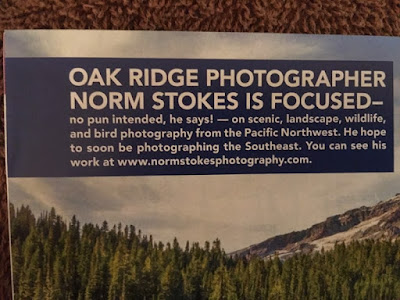 Very nice caption on magazine layout that including website address for Norm Stokes Photography
