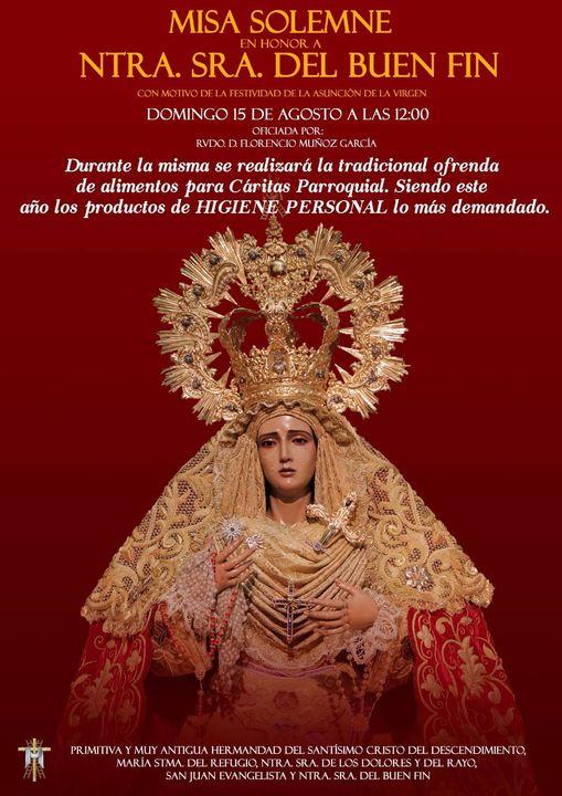 Cartel de la Misa Solemne en honor Ntra. Sra. Del Buen Fin. Córdoba 15 de Agosto del 2021