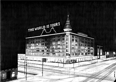 drawing Rik Smits The Winstor Department Store by Night, 2011 pencil on paper
