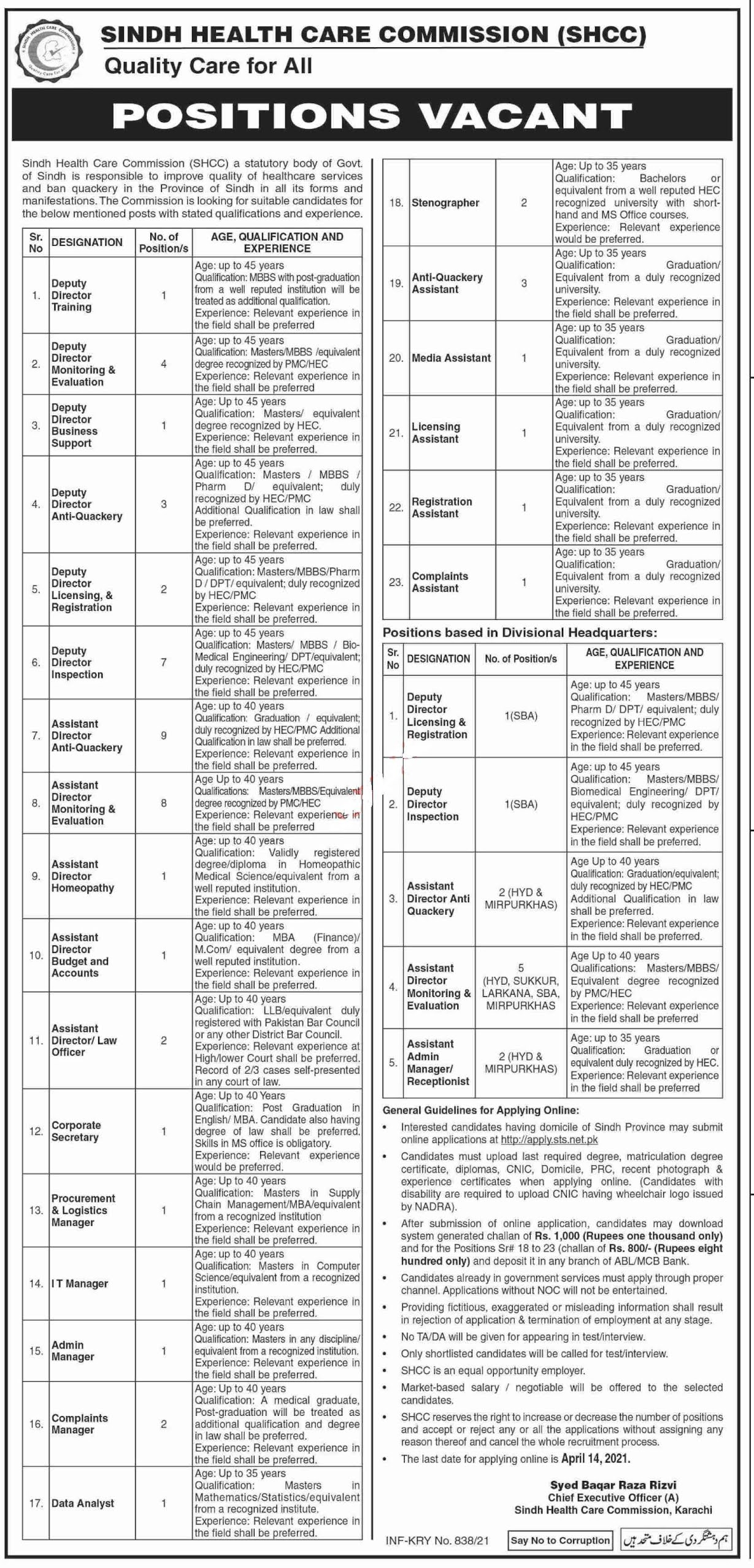 Sindh Health Care Commission SHCC Jobs 2021 for Data Analyst, Stenographer, Anti Quackery Assistant, Media Assistant, Licensing Assistant, Registration Assistant and more | Apply via STS