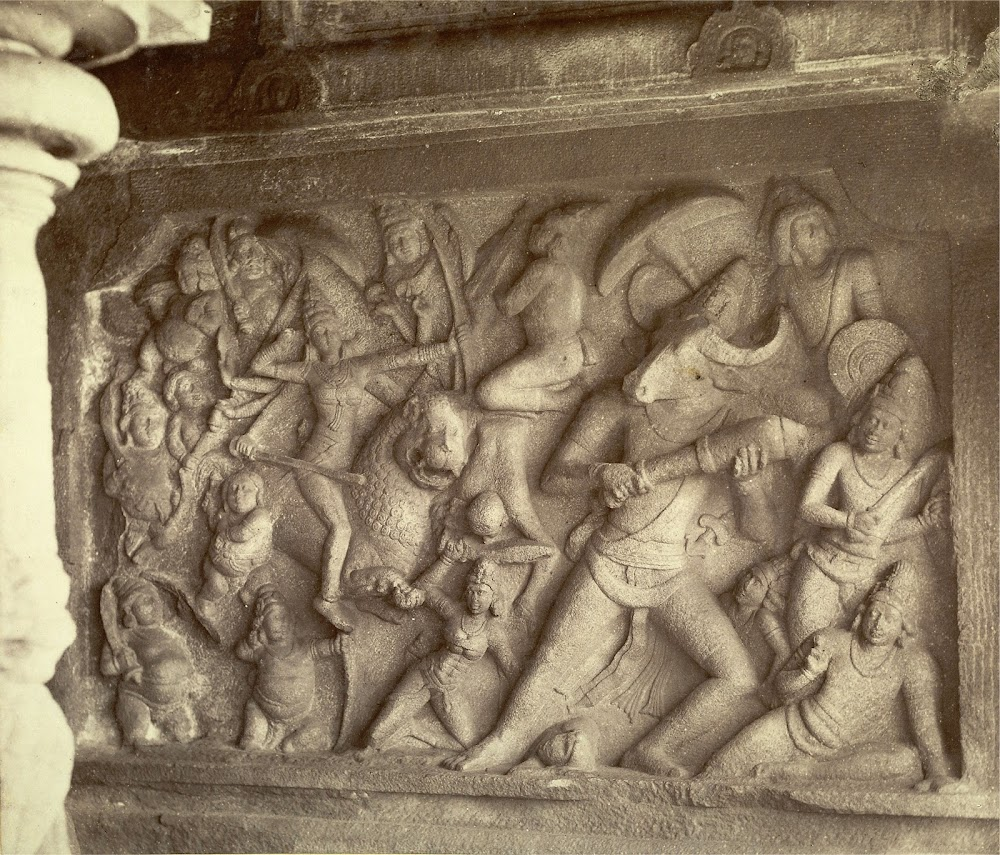 Conflict of Durga with Mahishasur - Mahishasuramardini Cave Temple, Mamallapuram - 1880