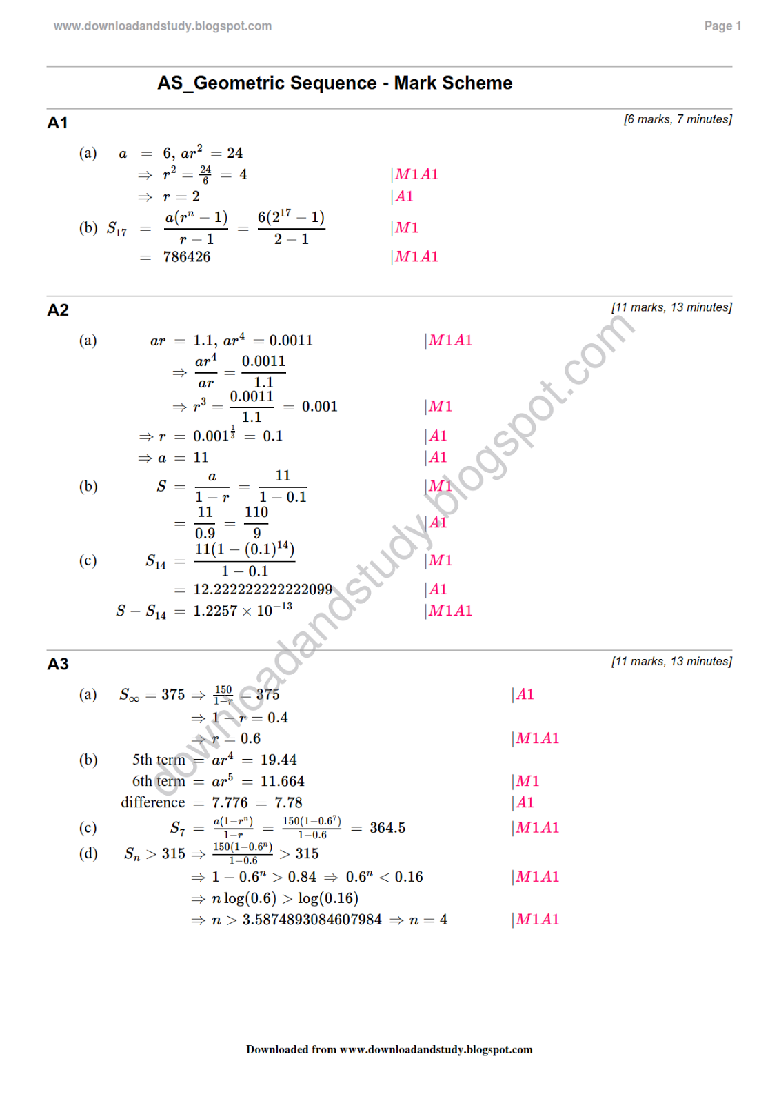 Printables Geometric Sequence Worksheet download study solution to as maths geometric sequence revision test worksheet