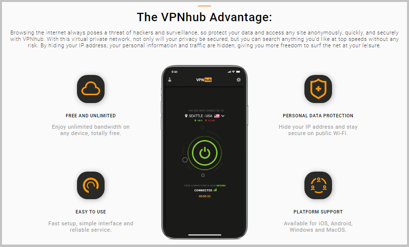 vpn hub for pc windows features