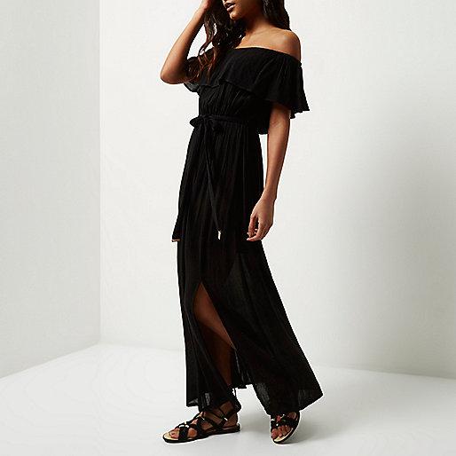 river island black frill shoulder dress, black off shoulder frill maxi dress, black cheesecloth dress,