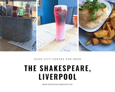 cutlery, a pint and a pie with writing underneath that says the shakespeare liverpool