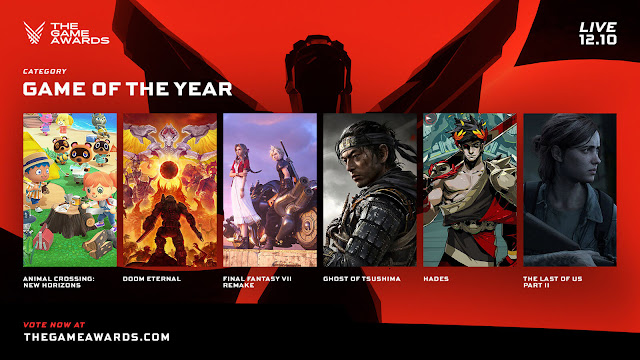 the game awards 2020 nominees revealed animal crossing: new horizons doom eternal final fantasy vii remake ghost of tsushima hades the last of us part 2