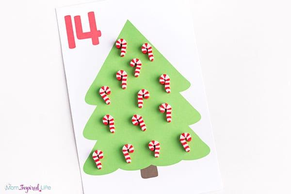 Weihnachtsbaum-Zählmatten (Zahlen 1-10)