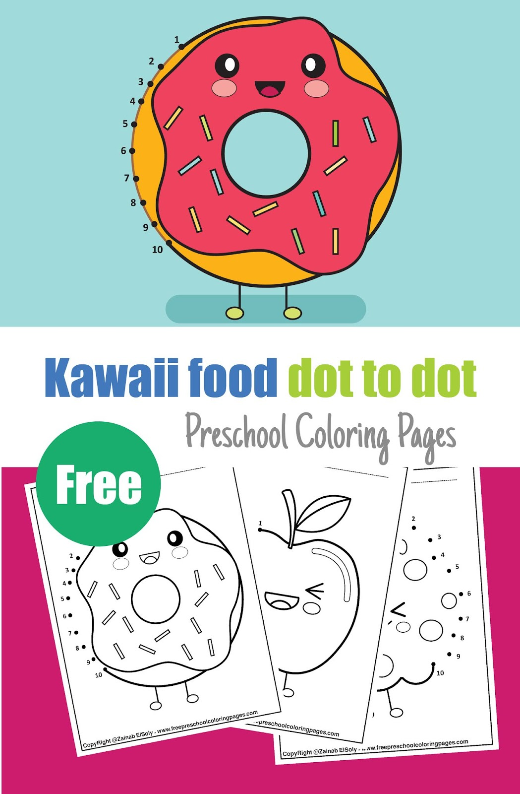 Kawaii Food Dot To Dot Coloring Pages For Kids