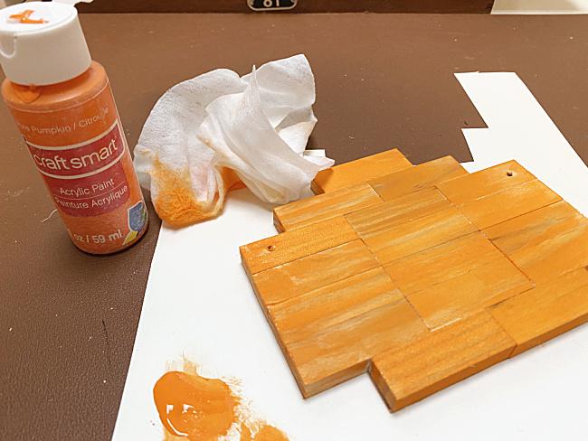paint, wipes and pumpkin blocks