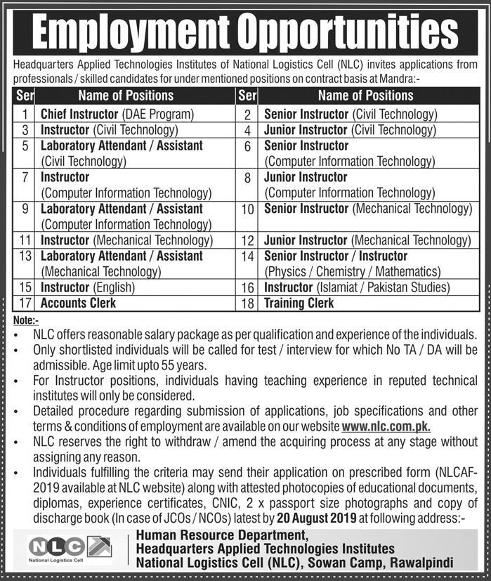 National Logistic Cell NLC Jobs August 2019  Vacancies 90