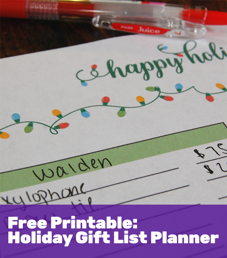 Holiday gift list planner printable