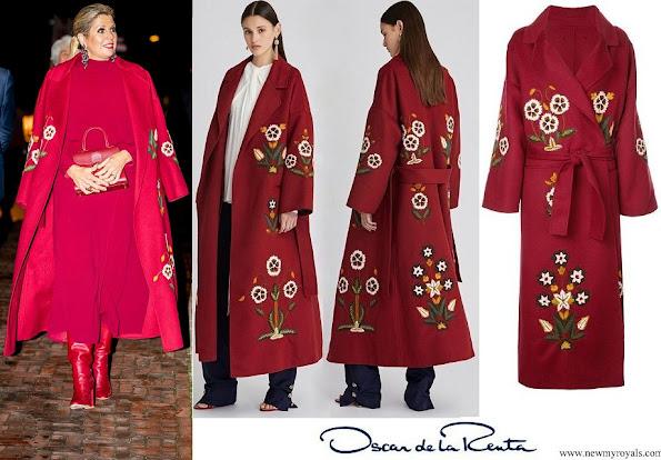 Queen Maxima wore Oscar de la Renta claret multi embroidered wool cashmere coat