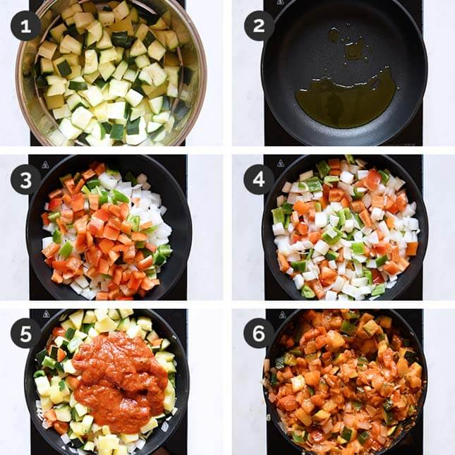 Pictures of how to make pisto step by step