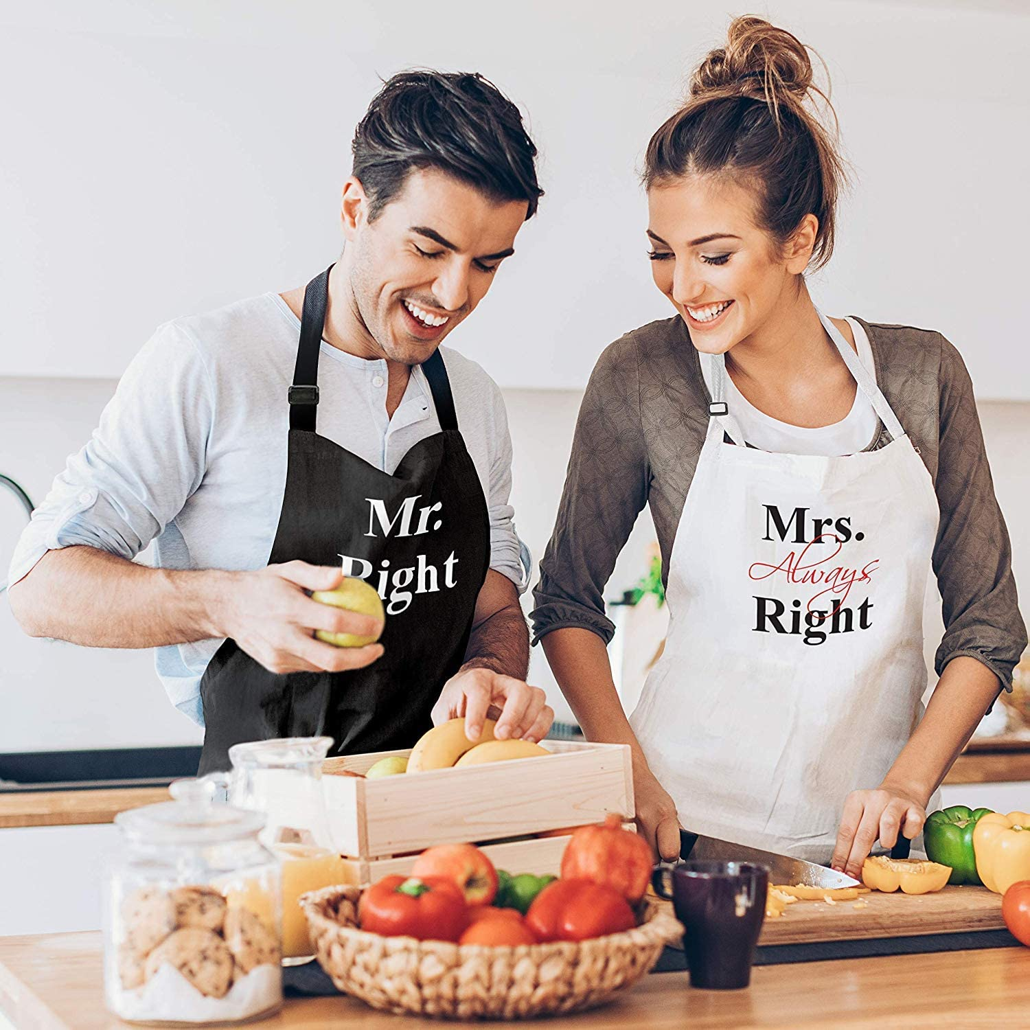 Mr Right Mrs Always Right Couple Aprons