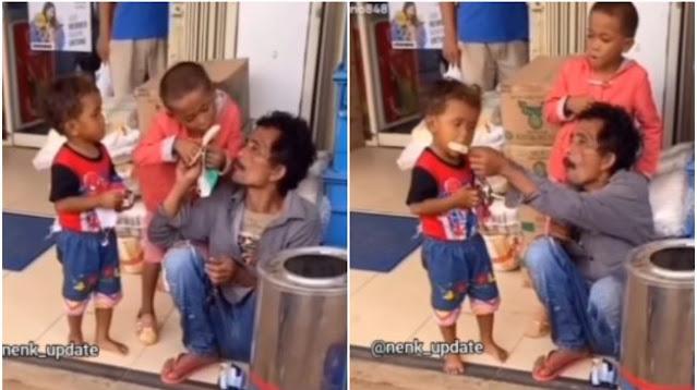 Momen Ayah Makan Es Krim Bergantian dengan 2 Anaknya Bikin Publik Tertampar