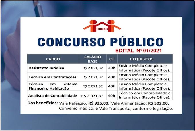 Cohab - SP anuncia Edital de Concurso Público para nível médio com salário inicial de R$ 2.071,32 + Benefícios. Saiba Mais
