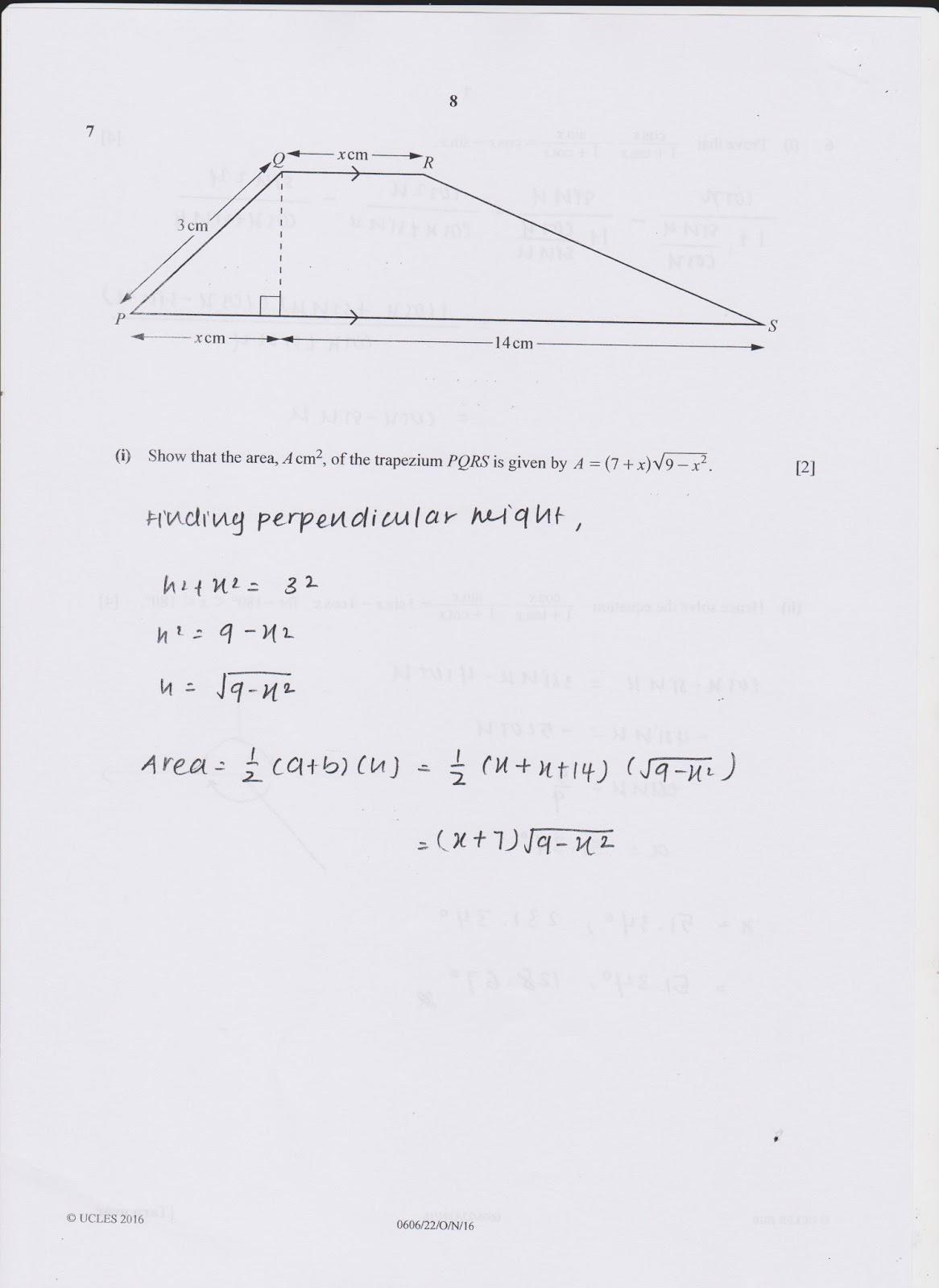 IGCSE Add Maths Working Answers [0606/22] Paper 2 2016