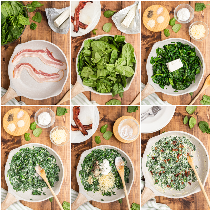 Six photos of the process of making Easy Creamed Spinach.