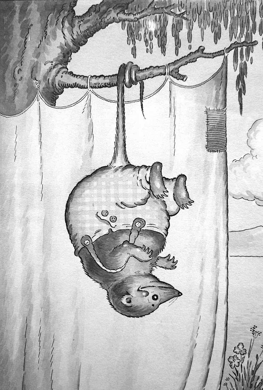 a Harrison Cady illustration of a hanging possum